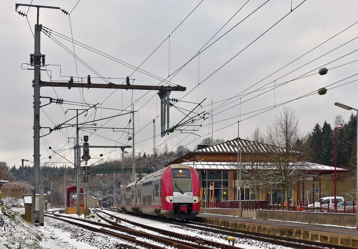 . Z 2215 pictured in front of the station of Troisvierges on January 20th, 2015.