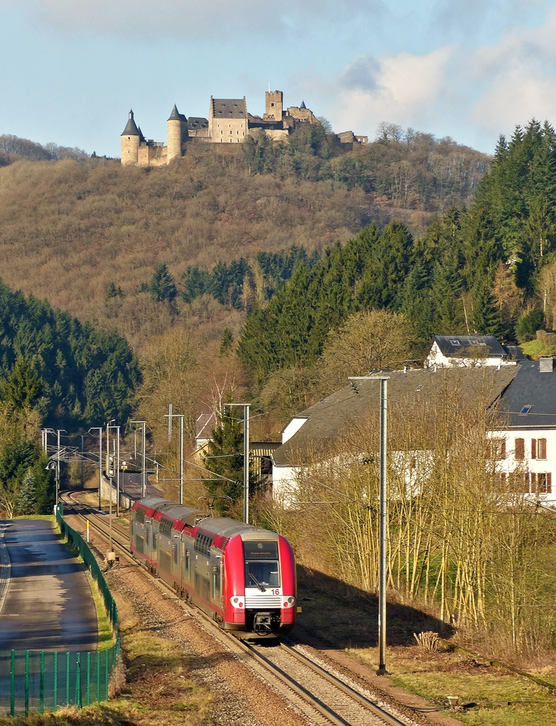 . Z 2216 as RE 3712 Luxembourg City - Troisvierges is running through Michelau on January 20th, 2015.