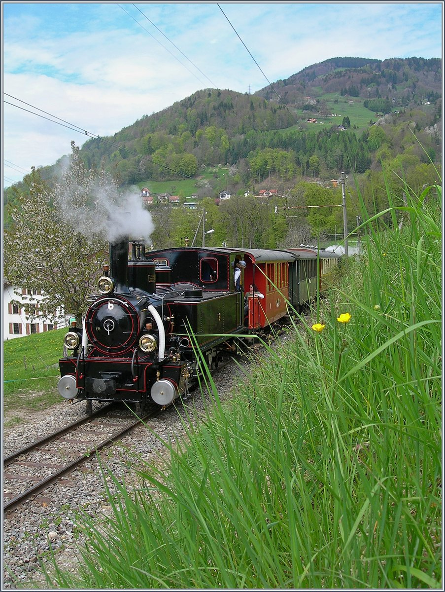 40 years Blonay -Chamby Railway: The oldest B-C steamer: the JS BAM G 3/3 N° 6 by Cornaux.  03.05.2008