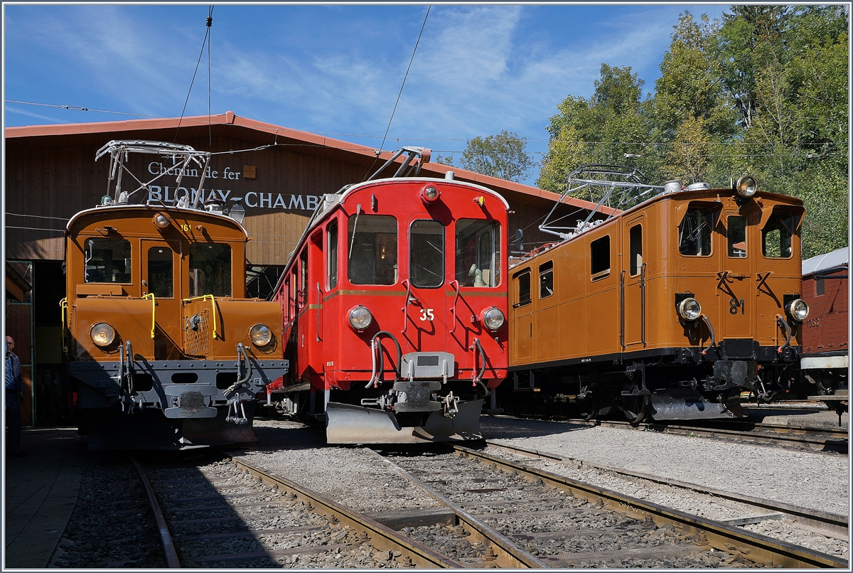 50 years Blonay -Chamby Railway - Mega Bernina Festival (MBF): The Ge 2/2 161 Asnin ,  The ABe 4/4 N° 35 and the Ge 4/4 81 in Chaulin.