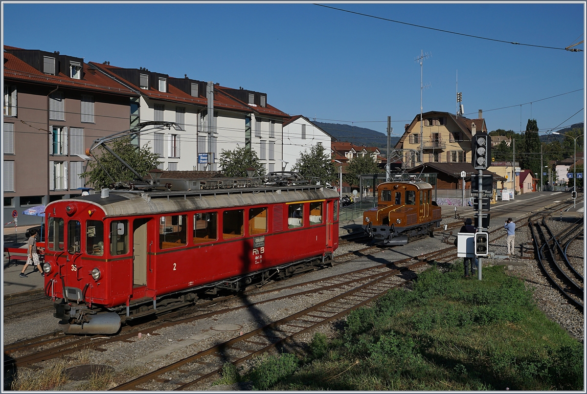 50 years Blonay -Chamby Railway - Mega Bernina Festival (MBF): The RhB Ge 2/2 161 Asnin and the RhB ABe 4/4 35 in Blonay. 09.09.2018