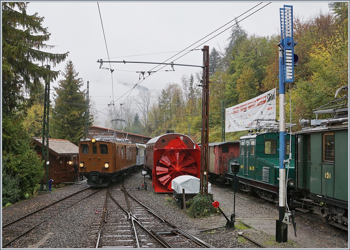 50 years Blonay -Chamby Railway - The last part: The Blonay Chamby Railways Bernina Bahn Ge 4/4 81 (ex RhB Ge 4/4 181) in Chaulin.