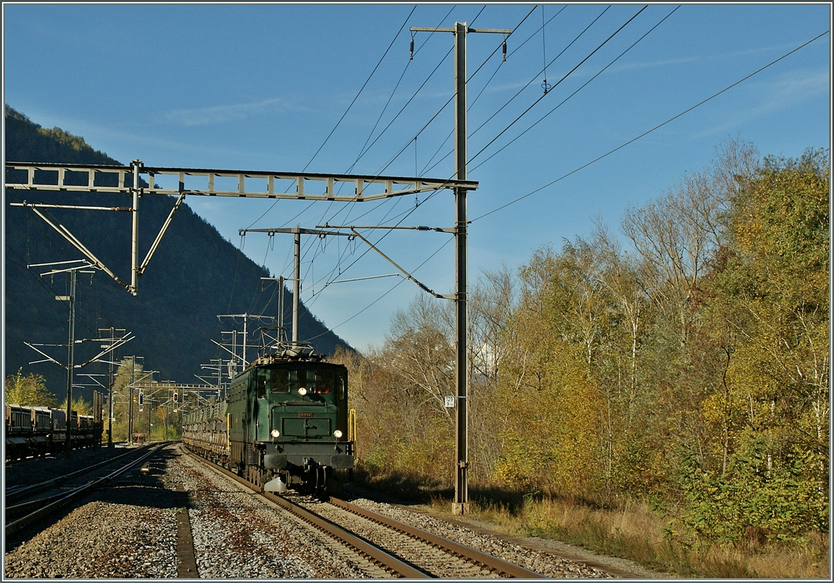 A Ae 4/7 with a Cargo train by Raron.
