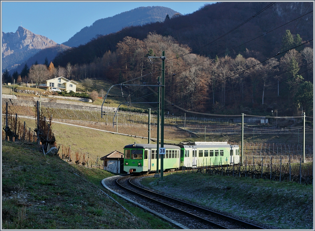 A ASD local train in the vineyards by Aigle.