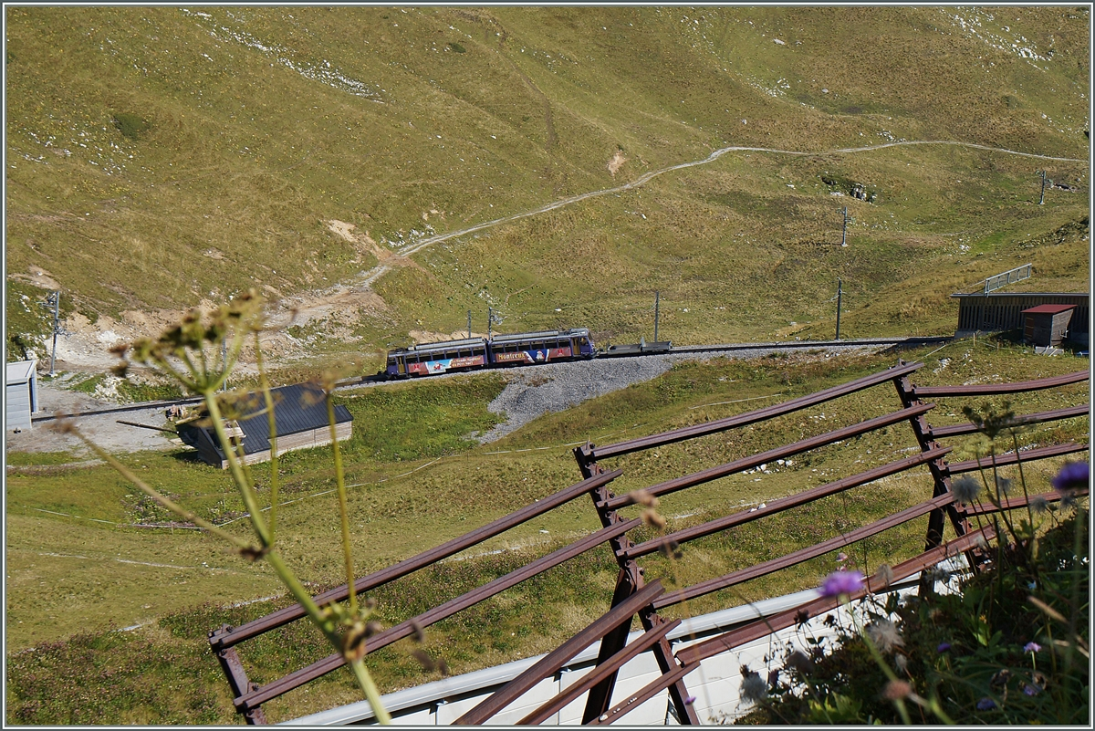 A Beh 4/8 ont the way to the summit near the Rocheres de Naye Station.