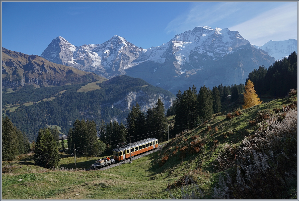 A BLM Be 4/4 by the Grütschalp for the background of the Eiger Mönch and Jungfrau.