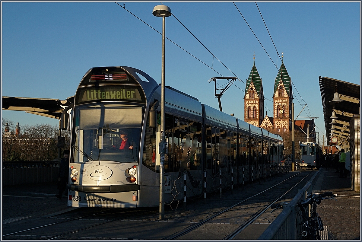 a freiburg tramway to littenweiler by his stop by the main station rail. Black Bedroom Furniture Sets. Home Design Ideas