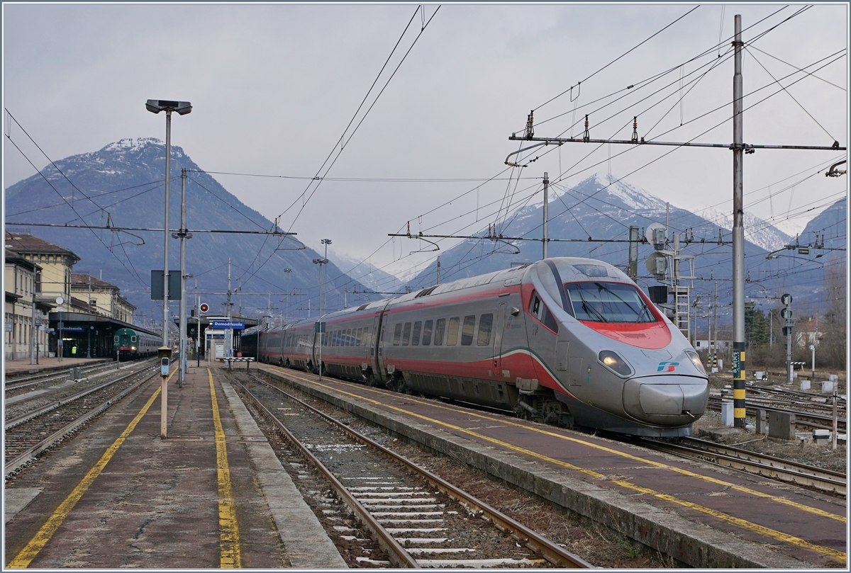 A FS Trenitalia ETR 610 on the way from Basel to Milano (EC 57) in Domodossola.