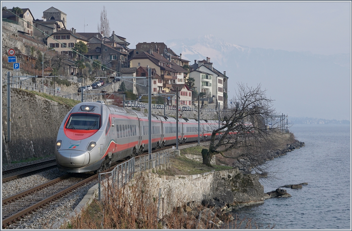 A FS Trenitalia ETR 610 on the way to Geneva by St Saphorin.