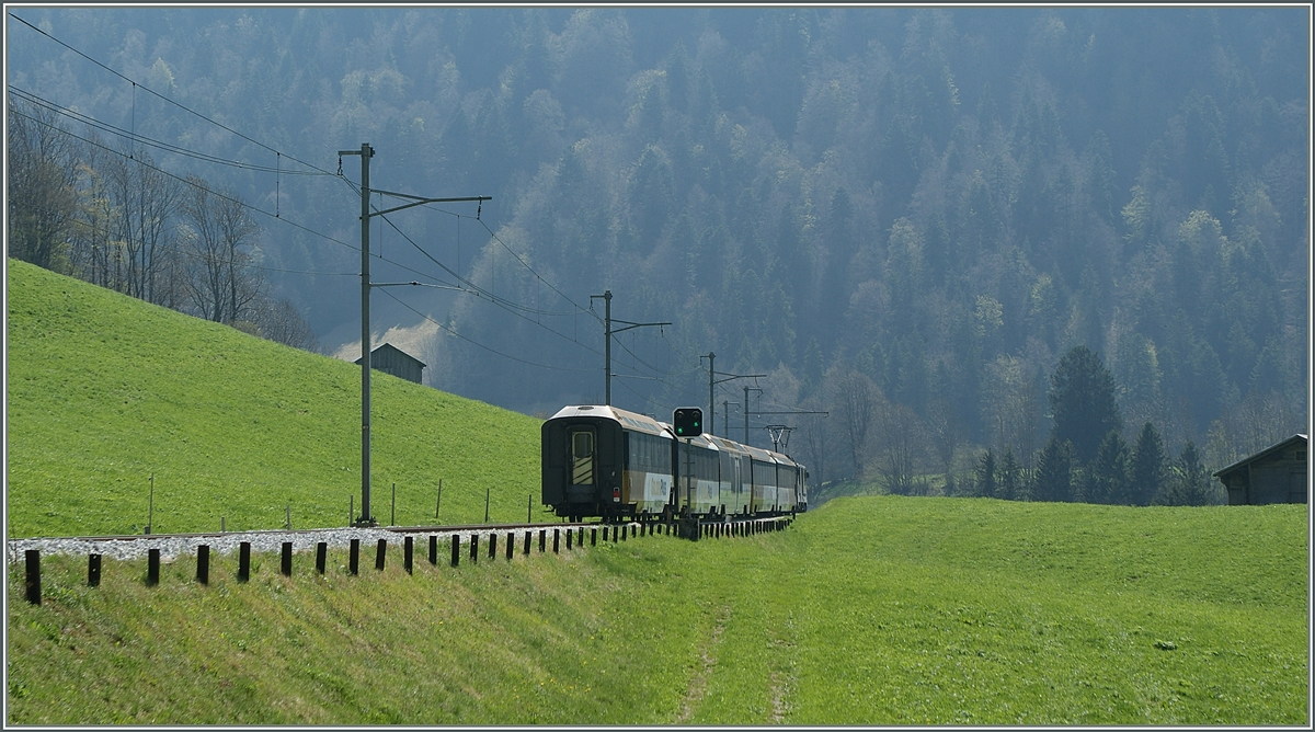 A MOB GoldenPass Panoramic train on the way to Zweisimmen by Rossinère.
