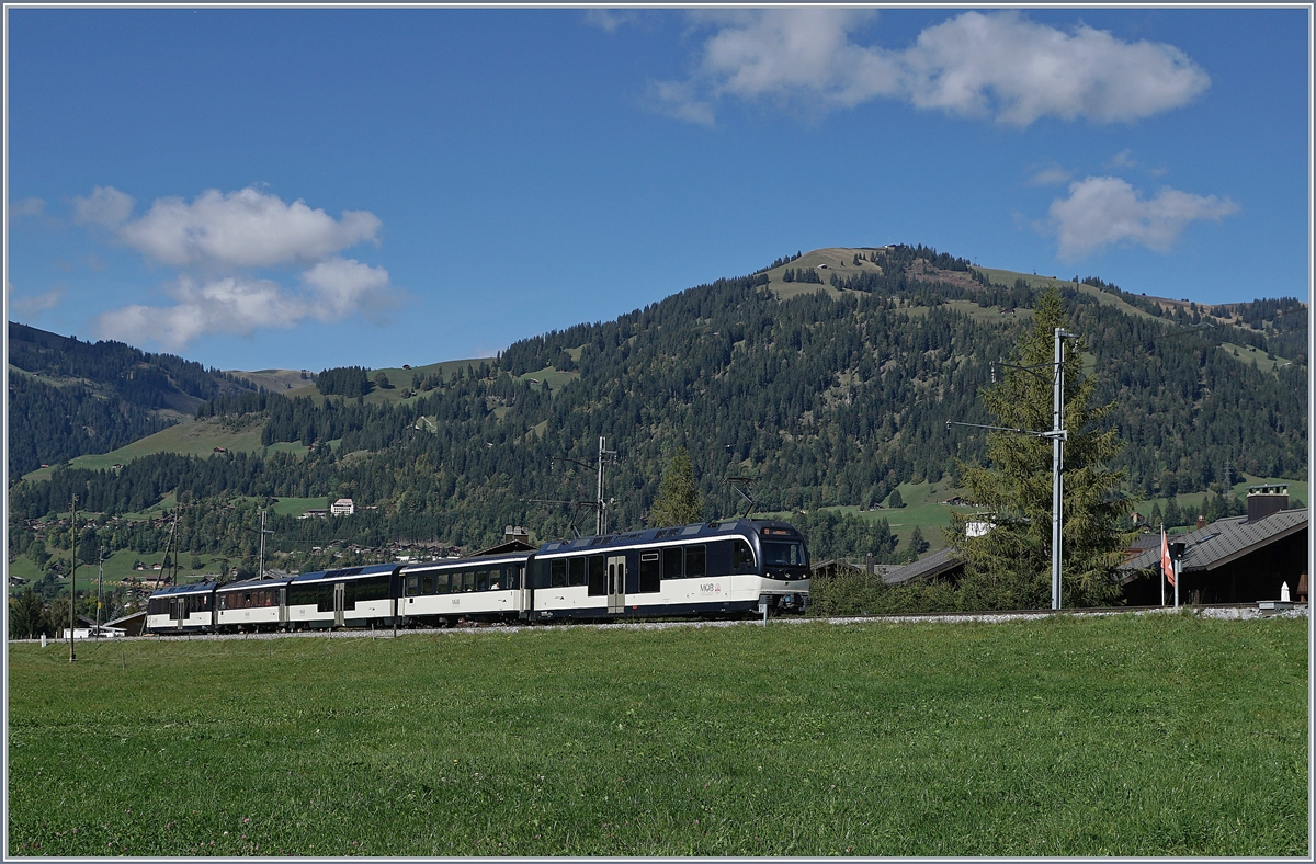 A MOB local train from Montreux to Zweisimmen near Gstaad.