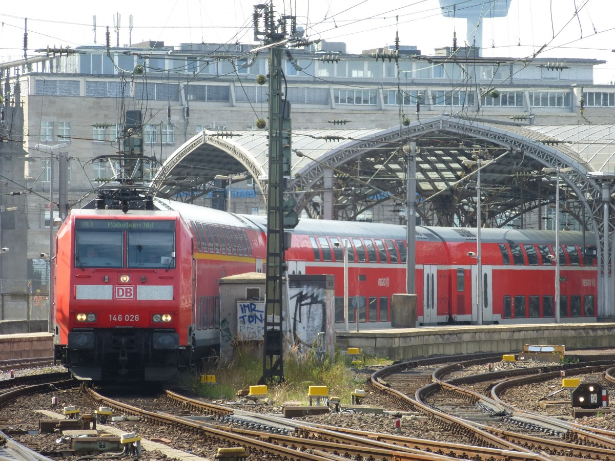 A RE1 is leaving Cologne main station on August 21st 2013.