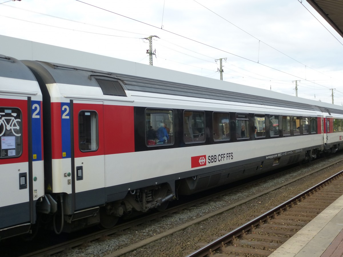 A SBB CFF FFS Wagon is standing in Dortmund main station on August 19th 2013.