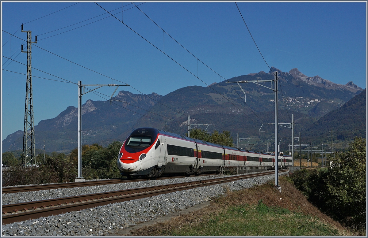 A SBB ETR 610 between St Maurice and Bex on the way to Geneva.