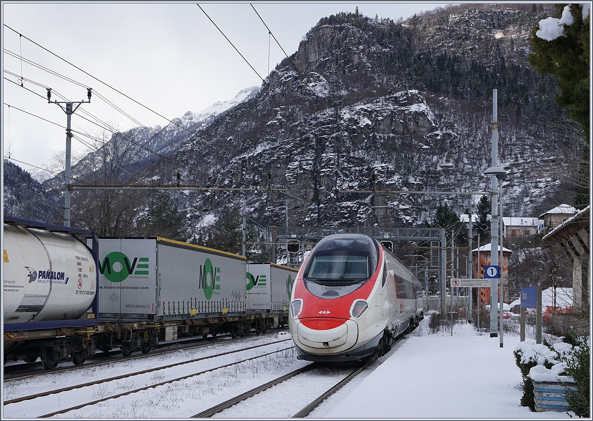 A SBB ETR 610 on the way to Basel in Varzo.