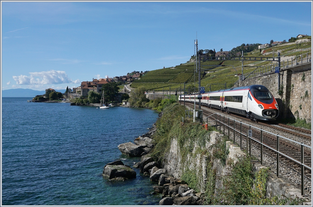 A SBB RABe 503 / ETR 610 from Geneve to Milano near Rivaz. 