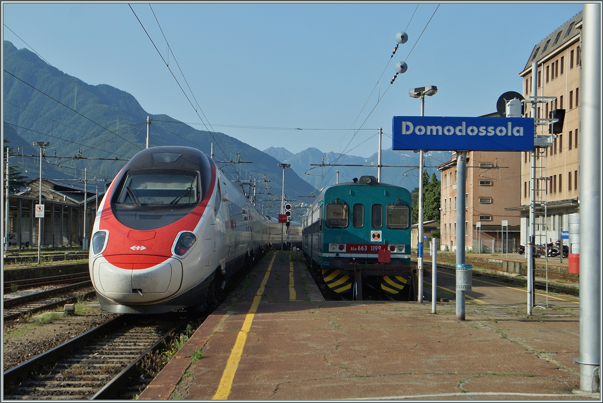 A SBB RABe 503 ETR 610 is leaving Domodossola on the way to Milano.