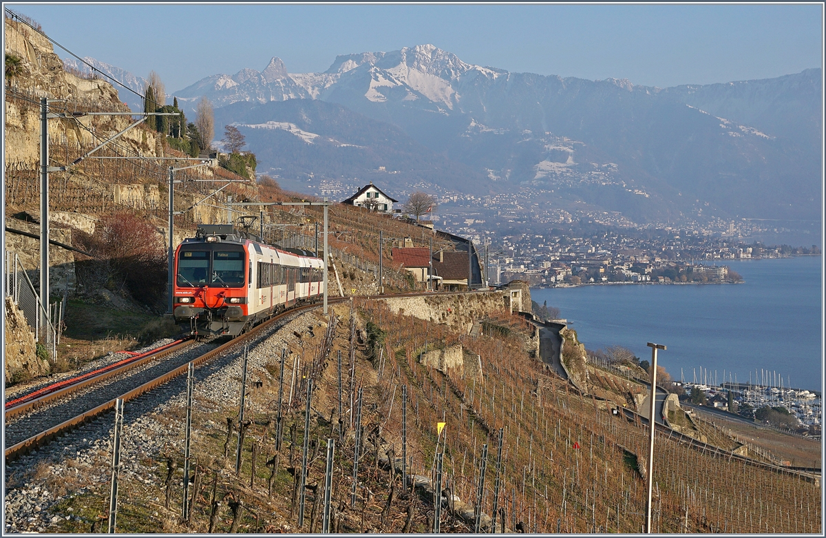 A SBB RBDe 560 Domino on the train de vignes linge (Vineyard-Line) between Vevey and Chexbres over St Saphorin.