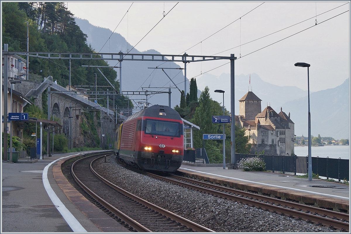 A SBB Re 460 by the Castle of Chillon on the way to Lausanne.