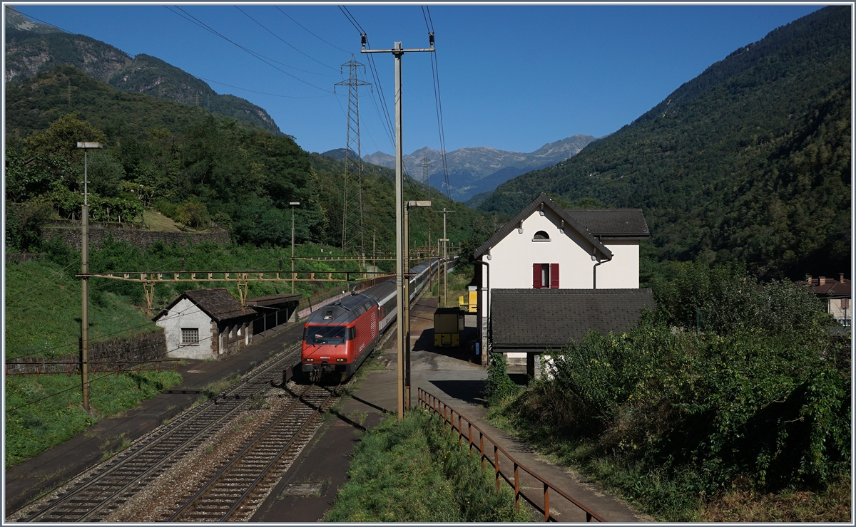 A SBB Re 460 wiht his IR to Locarno by Giornico.