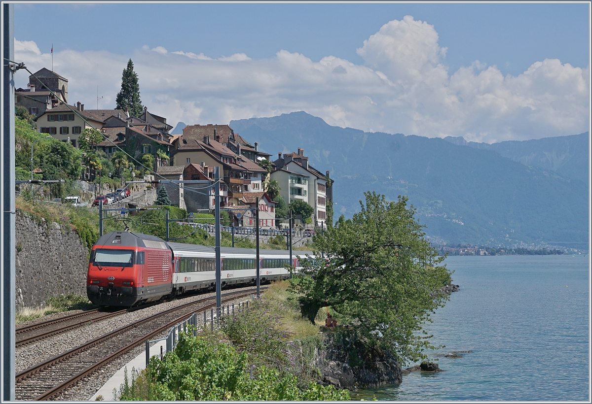 A SBB Re 460 wiht an IR 90 on the way to Brig by St-Saphorin. 