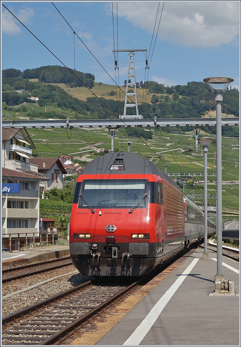 A SBB Re 460 with his IR90 on the way to Geneva by Cully.