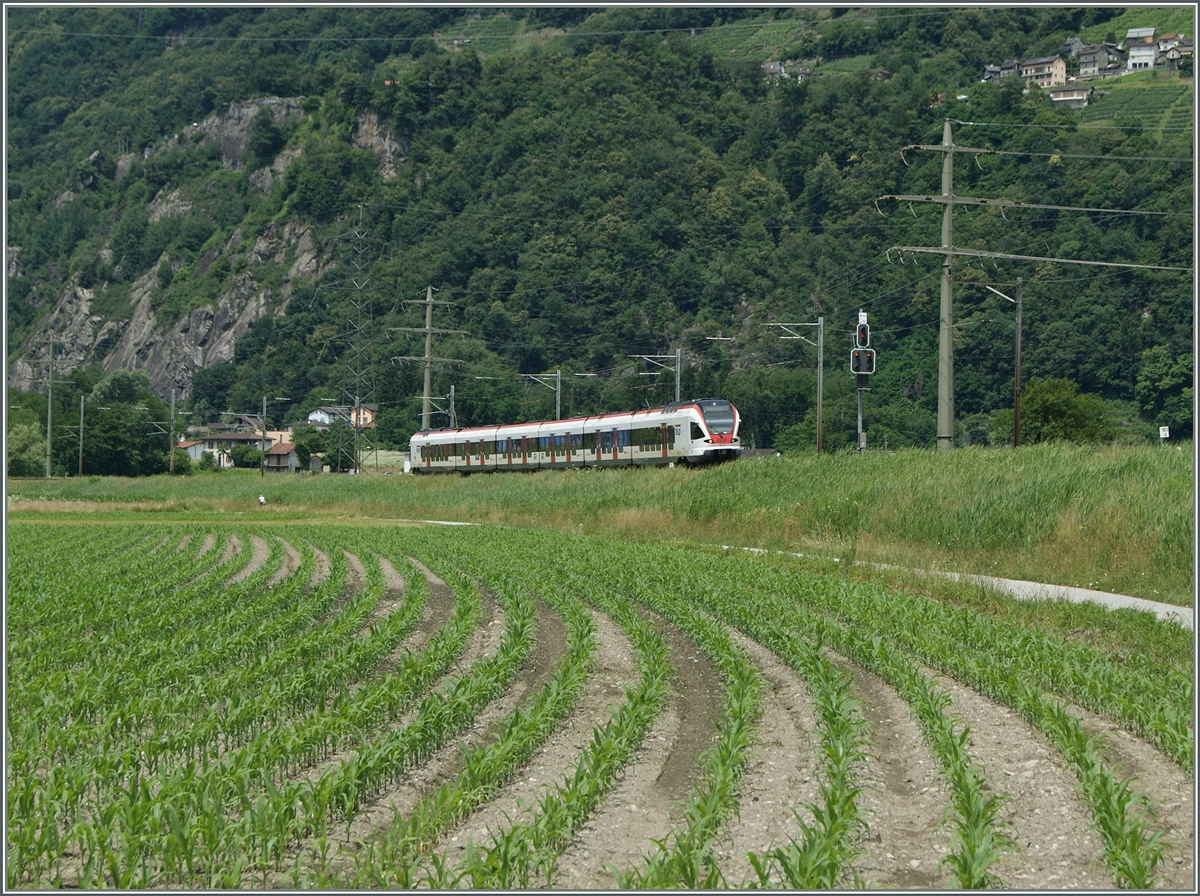 A SBB TILO on the way to Bellinzona near Riazzino.