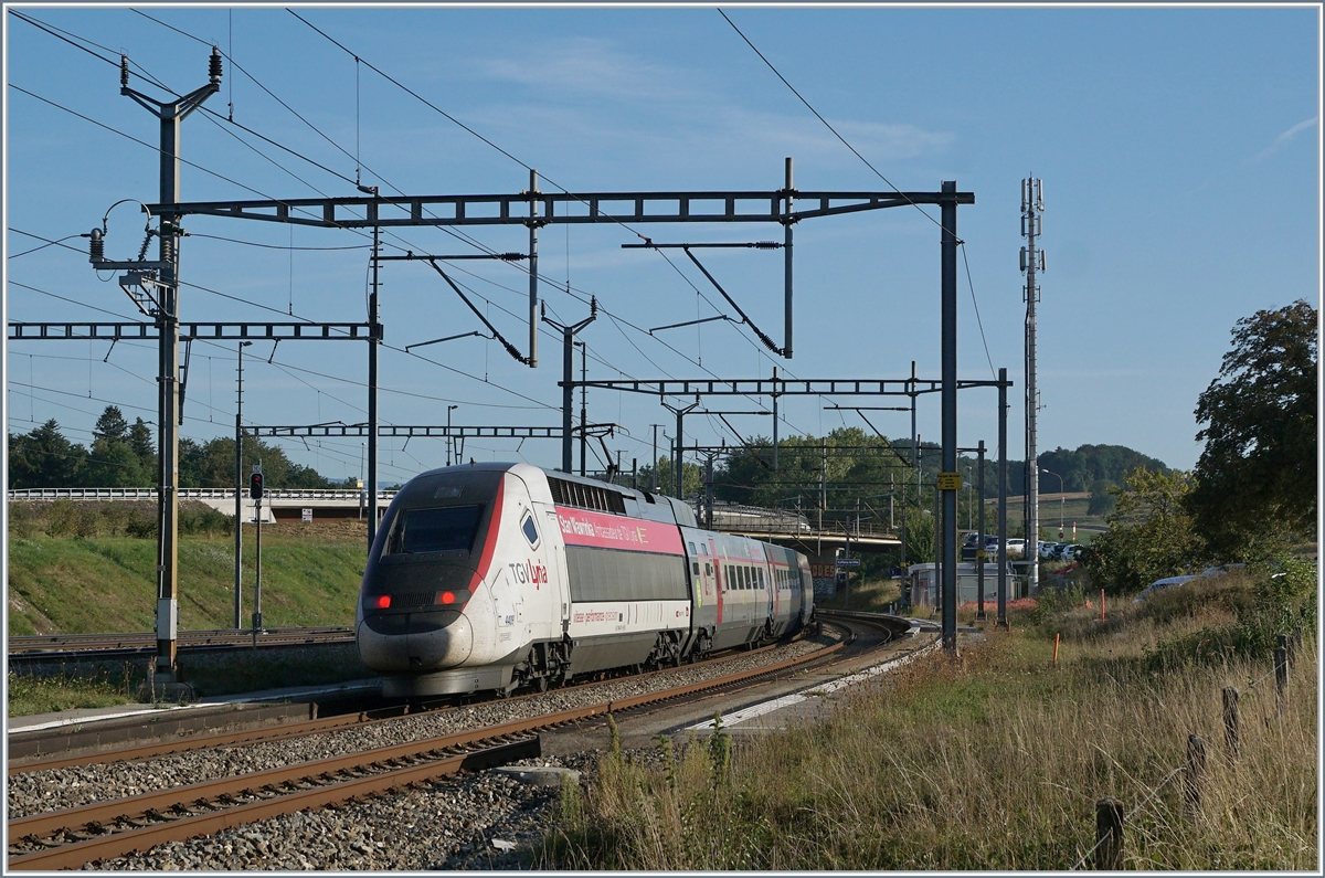A TGV Lyria from Lausanne to Paris in Vufflens la Ville.