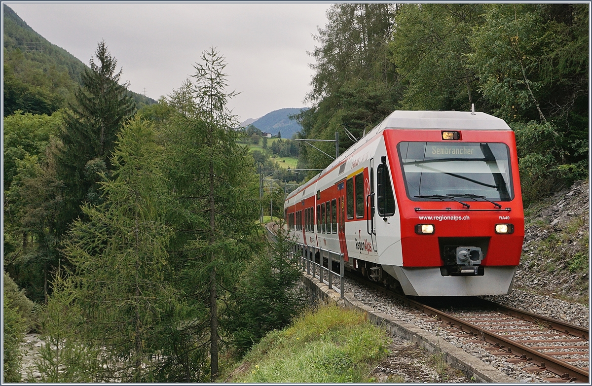 A TMR Regio Alps local train from Orsière to Sembrancher near Sembrancher.