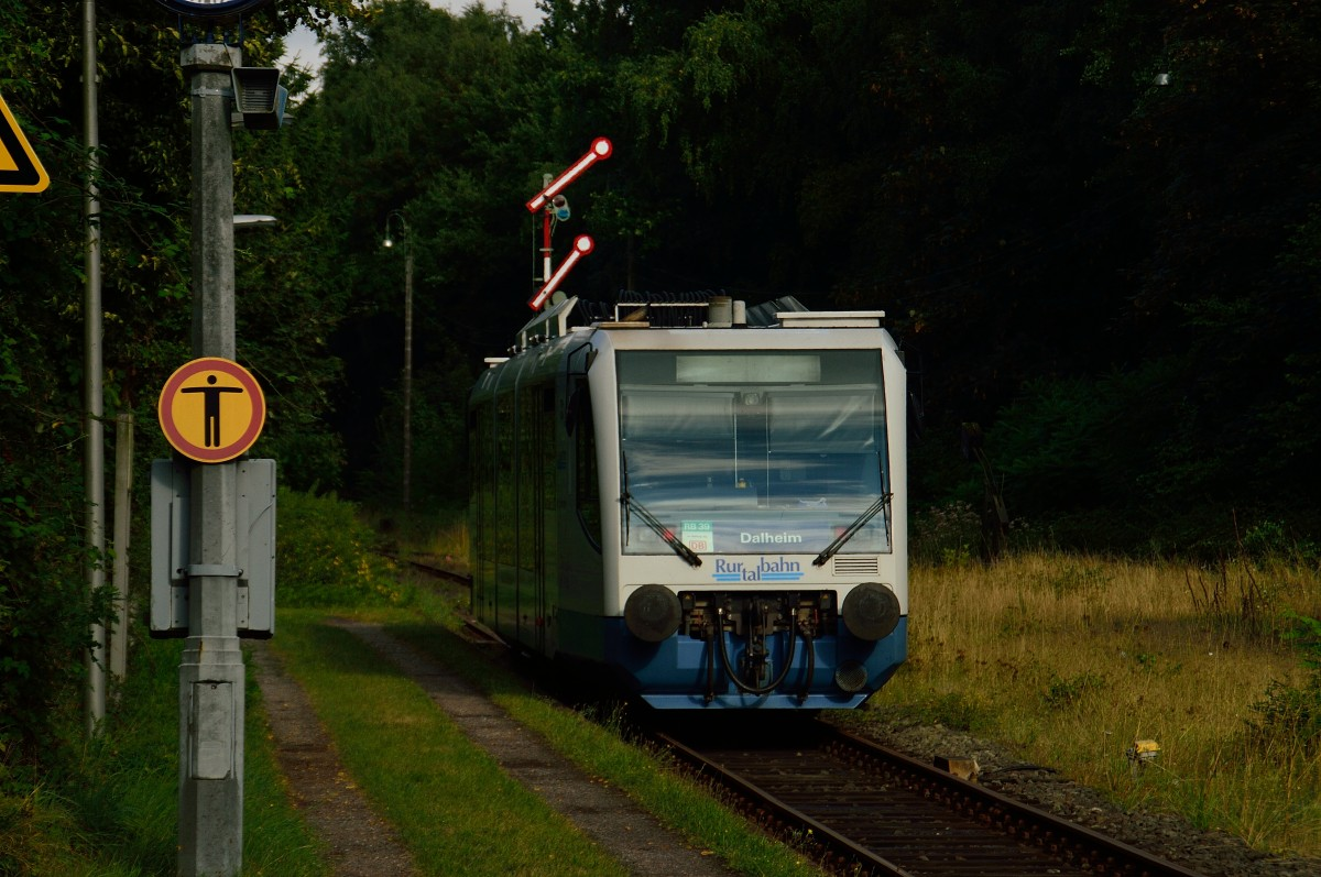 An leaving railbus from the RTB companie is seen here at Dalheim. In the beginn years of the 20th century was the station Dalheim the borderstation beteen the german reich and the netherlands. Millions of citizens from all over germany and easteurope disappeares in to the new world via Antwerpen. This line is called the iron rhine. 18.8.2013