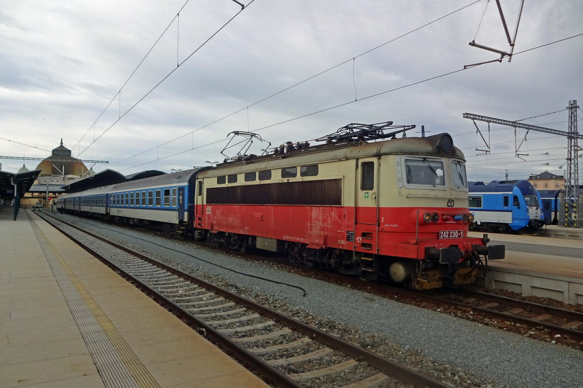 CD 242 230 stands on 22 February 2020 in Plzen hl.n. with the two-hourly regional fast train to Brno, which will take six hours for the journey due to the staten of the track...