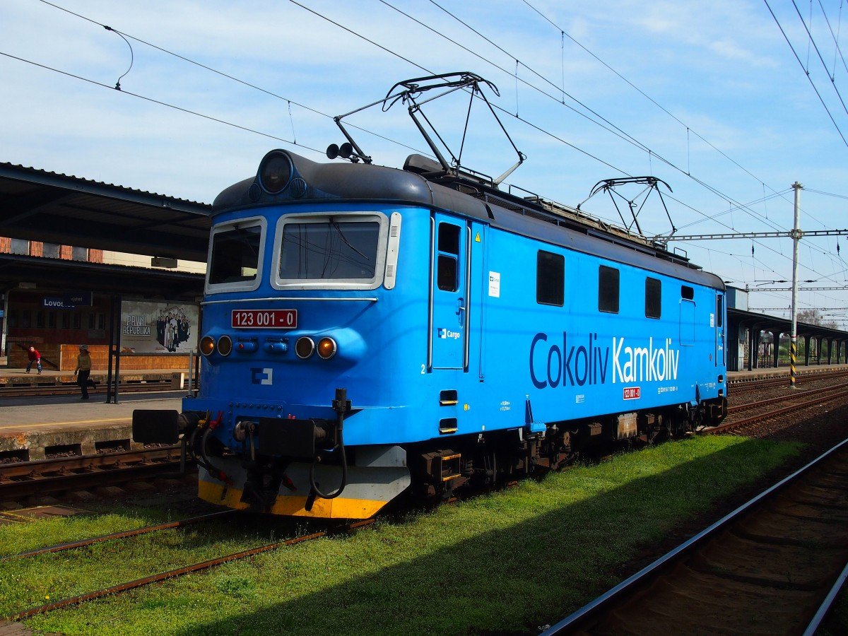 CD Cargo 123 001-9 at the Railway station Lovosice in 7. 4. 2014.