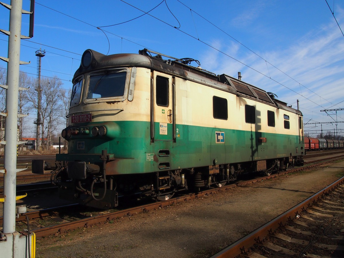 CD Cargo 130 010-2 (Year: 1977 Skoda Plzen)at the Railway station Kralupy nad Vltavou in 8. 3. 2015.