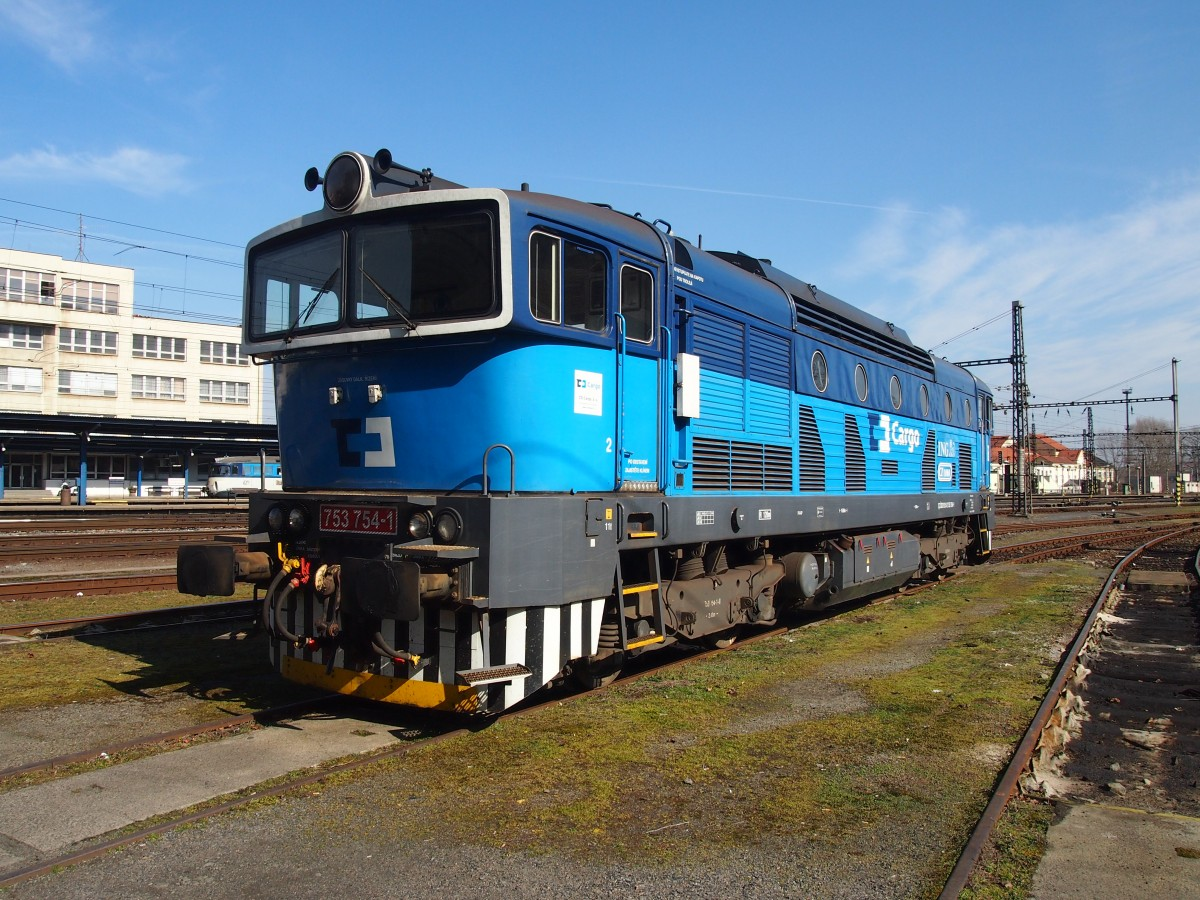 CD Cargo 753 754-1 at the Railway station Kralupy nad Vltavou in 8. 3. 2015.