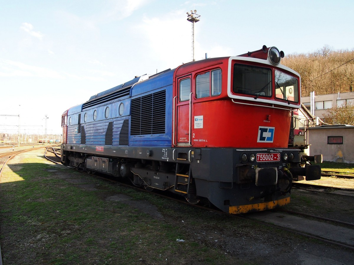 CD Cargo 755 002-3 on the 15th of April, 2013 on the Railway station Kralupy.