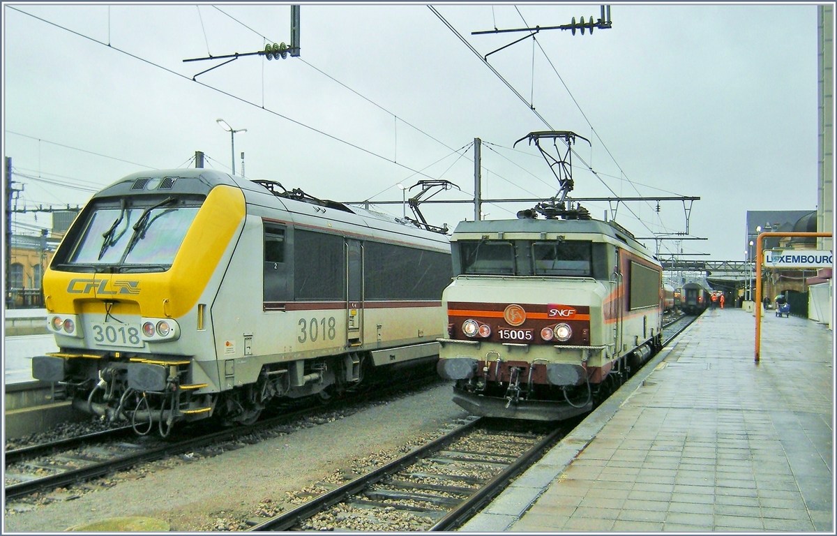 CFL 3018 and SNCF BB 15005 in Luxembourg.