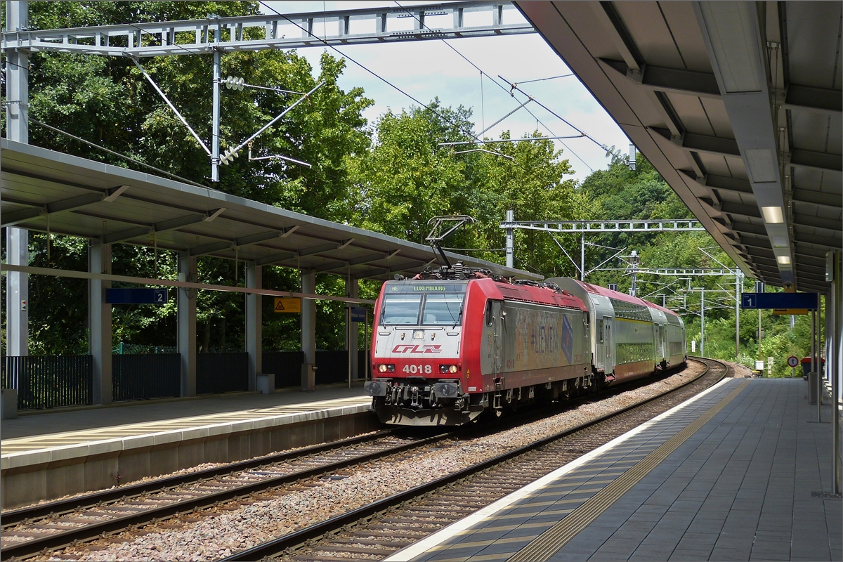 CFL 4018, arriving in de station Pffafenthal-Kirchberg on Juli 28th, 2020