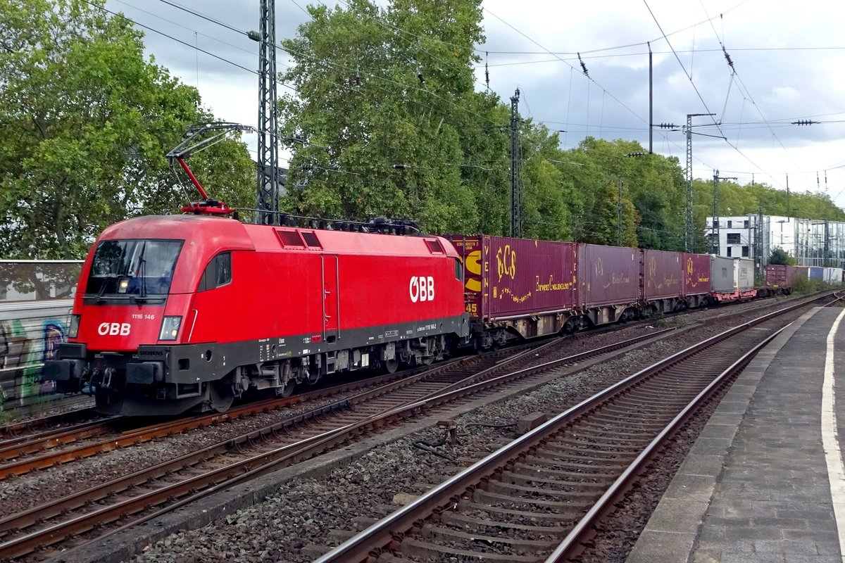 Container train with 1116 146 passes Köln Süd on 23 September 2019.