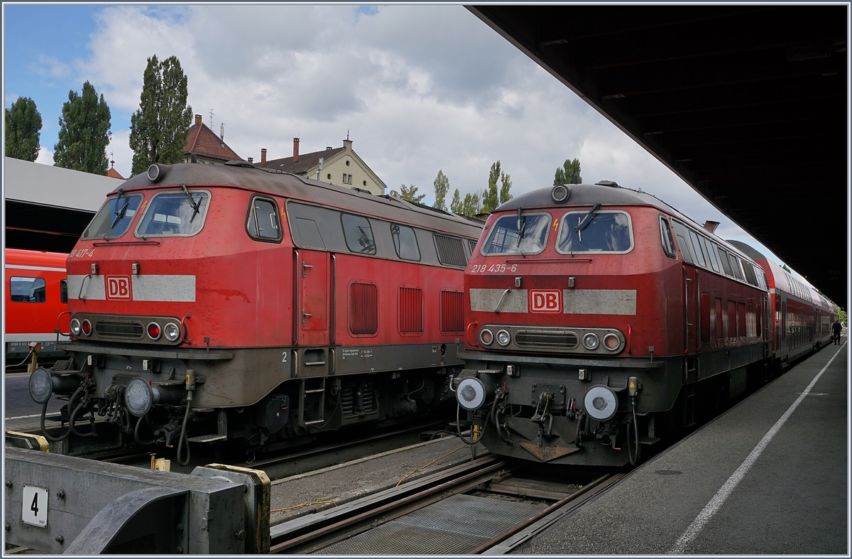 DB 218 417-4 and 218 435-6 in Lindau Hbf.