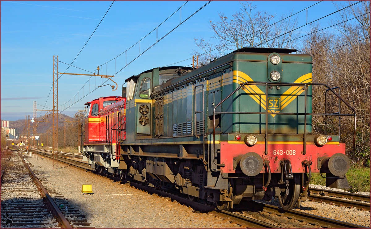 Diesel loc 643-008 run through Maribor-Tabor on the way to Studenci station. /10.12.2013