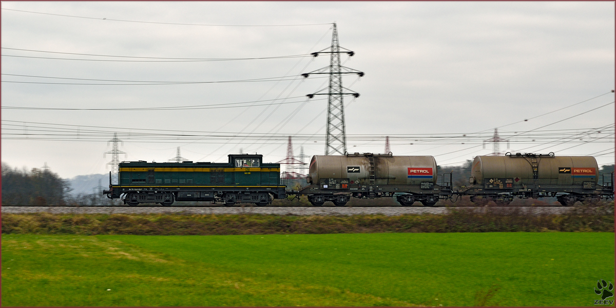 Diesel loc 643-010 pull freight train through Bohova on the way to Tezno yard. /21.11.2014