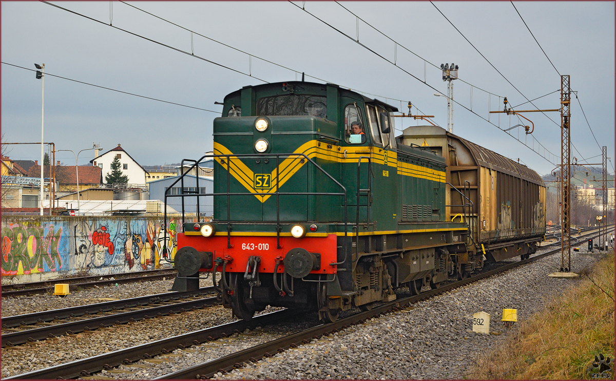 Diesel loc 643-010 pull freight train through Maribor-Tabor on the way to Tezno yard. /15.12.2014