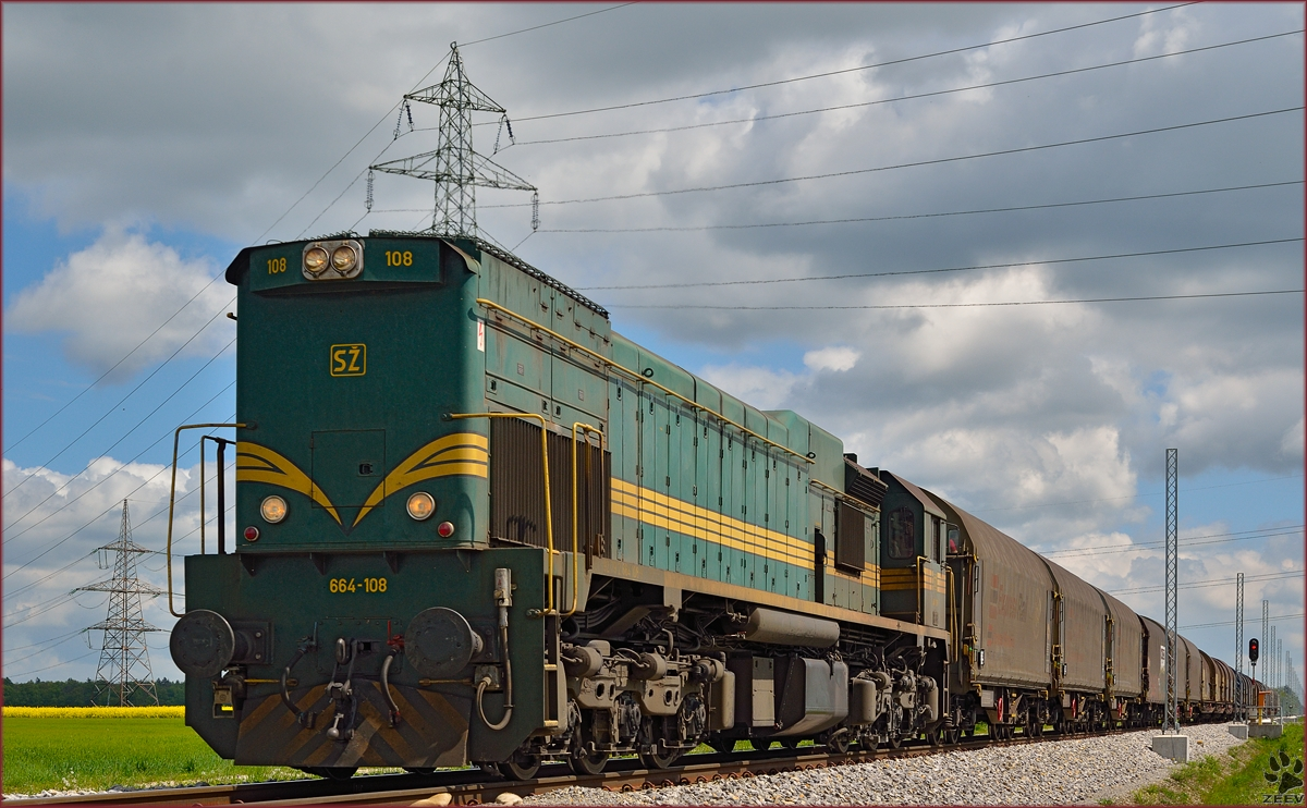 Diesel loc 664-108 pull freight train through Cirkovce on the way to Koper port. /22.4.2014