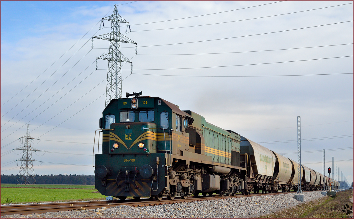 Diesel loc 664-109 is hauling freight train through Polje on the way to Pragersko. /14.2.2014