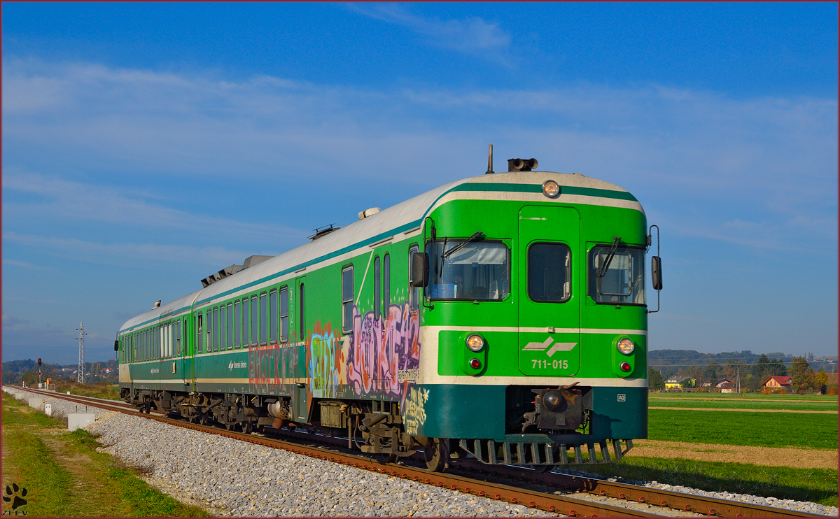 Diesel multiple unit 711-015 is running near Podvinci on the way to Murska Sobota. /25.10.2013