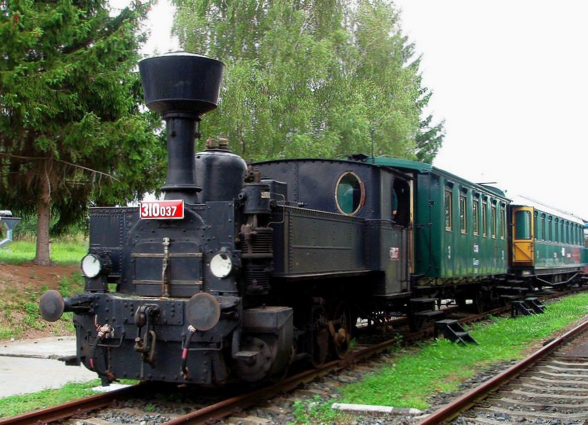 Duplex steam locomotive 310.037 (year of manufacture 1896 in St.E.G., Floridsdorf)at the museum KHKD in Knezeves on 28 July 2012.