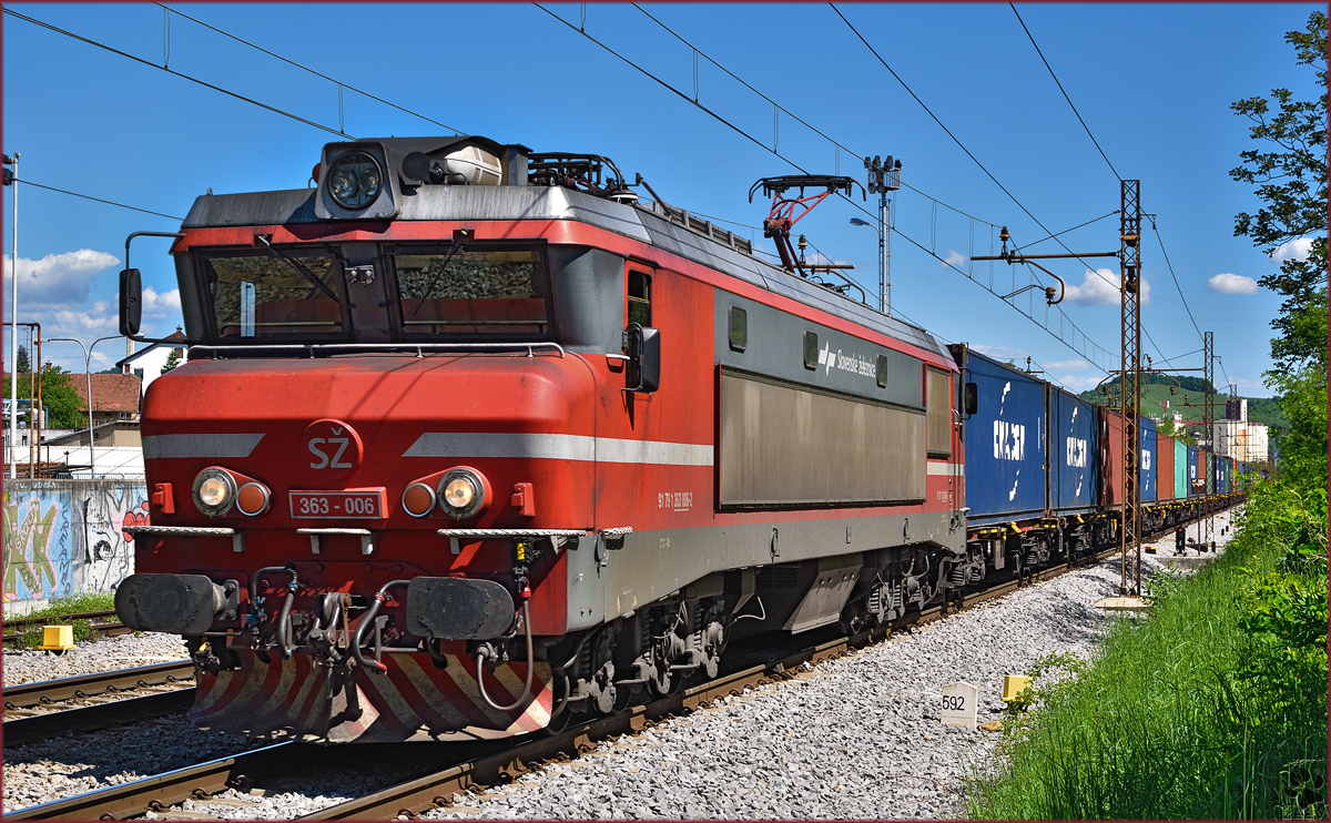 Electric loc 363-006 pull container train through Maribor-Tabor on the way to Koper port. /7.5.2015