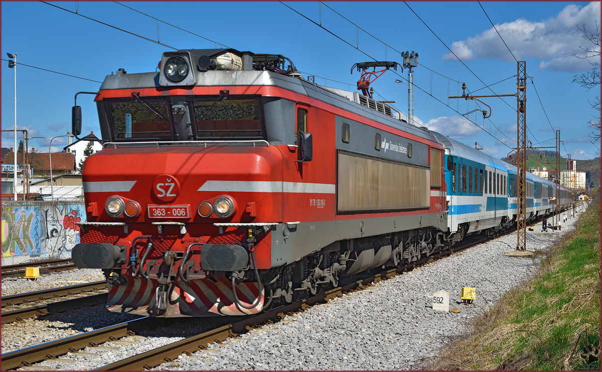 Electric loc 363-006 pull EC151 'Emona' through Maribor-Tabor on the way to Ljubljana. /3.4.2015