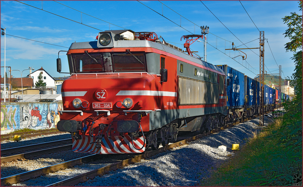 Electric loc 363-034 pull container train trough Maribor-Tabor on the way to Koper port. /14.10.2014