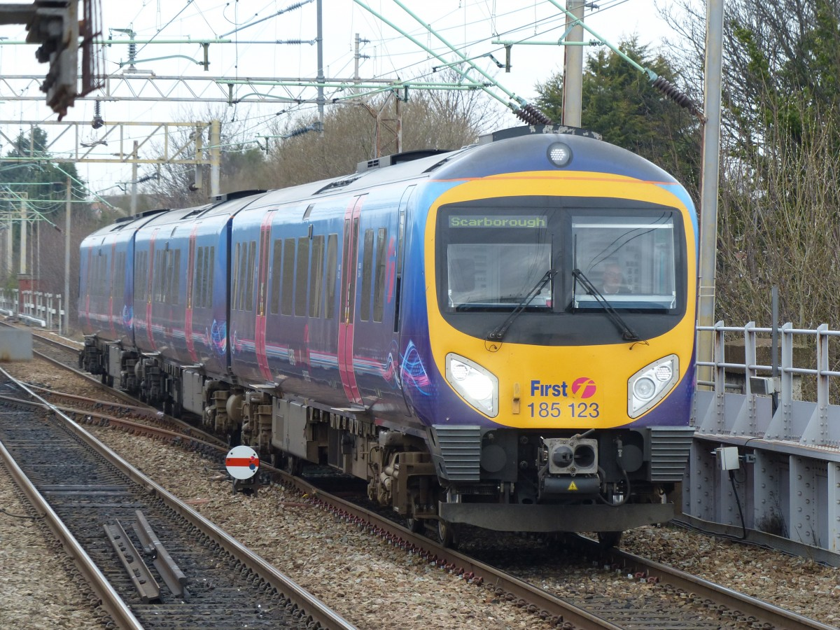 First TransPennine 185 123 arriving at Liverpool South Parkway Station, 11.3.2015